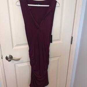 NWT- Lulu's burgundy midi dress